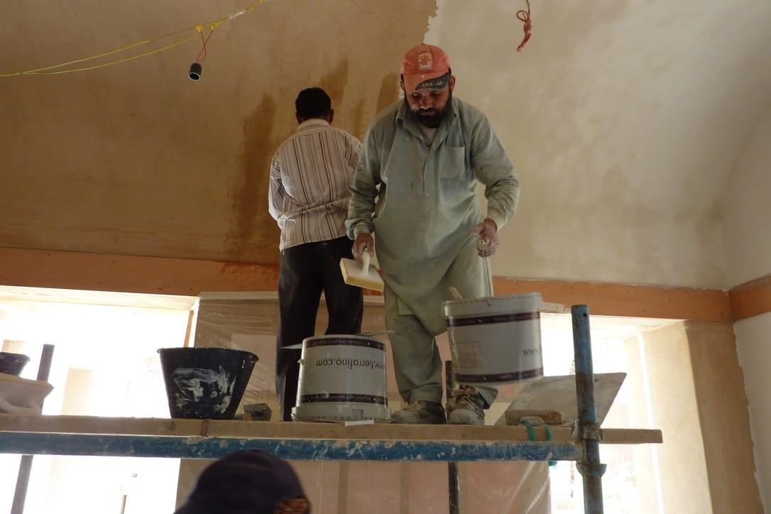 Leem Paleis in de woestijn leempleister plafond leemstuc Duro op basisleem