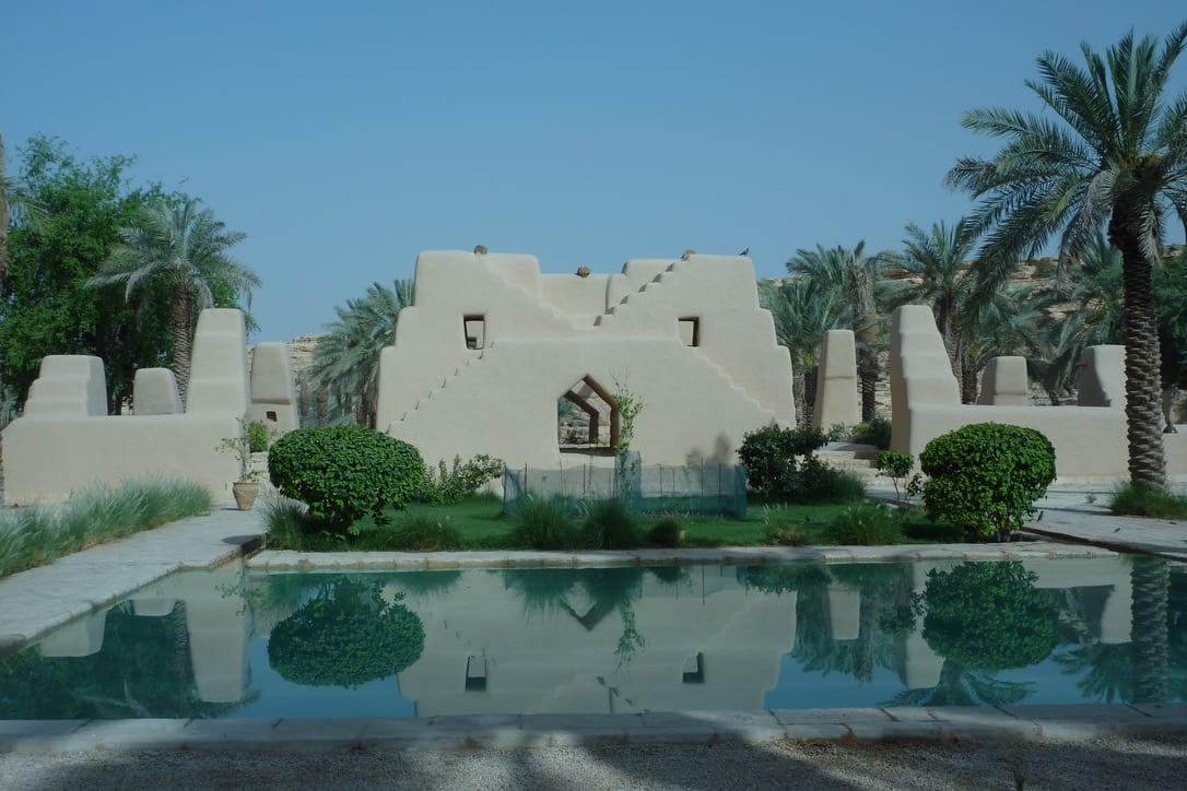 Leem Paleis in de woestijn buitenwanden